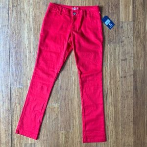 Dickies junior size 5 red skinny pants NWT